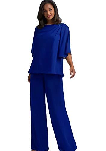 Mother Of The Bride Designer Suits - WZW 2019 Mother of The Bride Dresses Half Sleeve Wedding Guest Trouser Suits Mother's of The Bride Pant Set Royal Blue