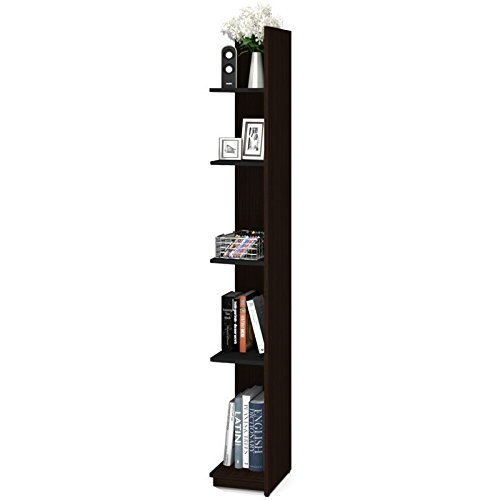 Bestar Small Space 10'' Add-on Storage Tower in Chocolate and Black
