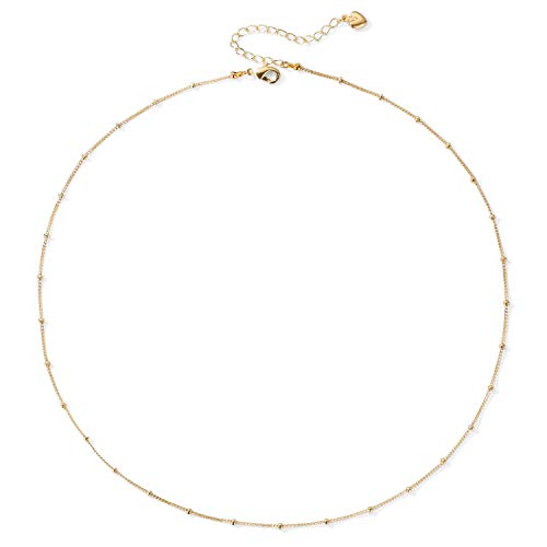 - 18k Gold Satellite Beaded Chain Choker Simple Layering Necklace Dainty Jewelry for Women Girls