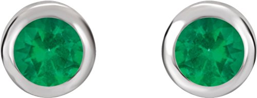 Chatham Created Emerald Stud Earrings, Rhodium-Plated 14k White Gold by The Men's Jewelry Store (for HER)