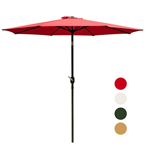 Outdoor Basic 9 Ft Patio Umbrella Aluminum Market Table Umbrella with Button Tilt and Crank Lift Red