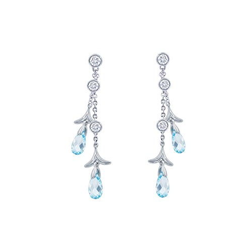 (Nicole Miller Briolette Double Strand Drop Earrings- Rhodium Plated Brass, Created)