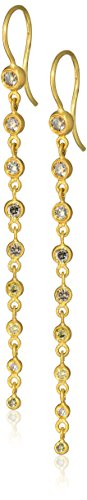 Annie Fensterstock Waterfall 22k Yellow Gold and Colored Diamond Earrings