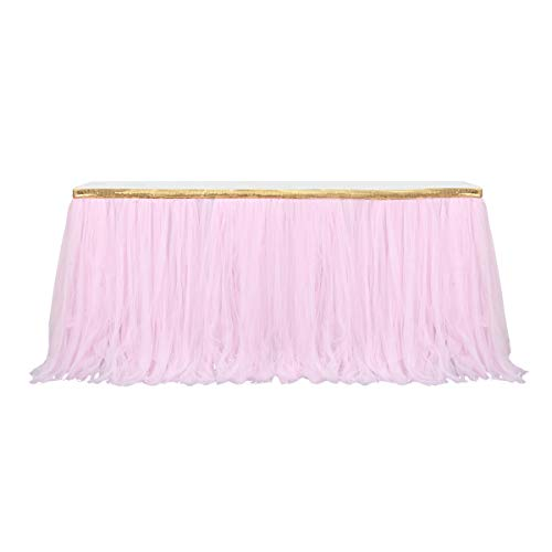 9ft Gold/Pink Tulle Table Skirt Tutu Table Skirts Wedding Birthday Baby Shower Party Table Skirting by HB HBB MAGIC