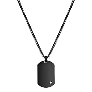 Best Epic Trends 31Lb5dBQRVL._SS300_ Geoffrey Beene Men's Engraving-Stainless Steel Dog Tag Pendant Necklace with Cubic Zirconia Stone
