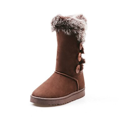 UK3 Comfort Fall EU36 Fashion Feather Shoes Heel Boots Toe Women'S Boots Round Mid 5 Suede Novelty RTRY Calf US5 Boots Lining Boots Fluff 5 Winter Flat For Snow CN35 tFqw4nx0A