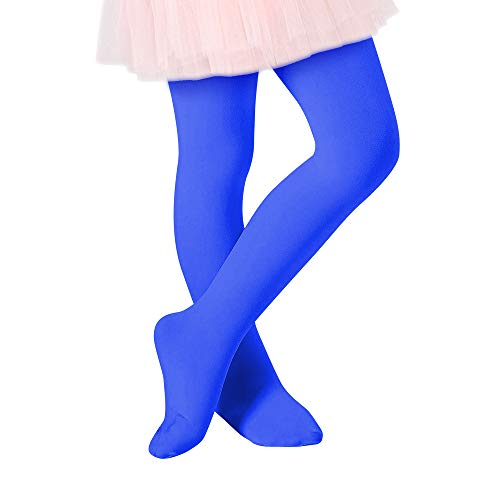 Century Star Ballet Dance Tights Footed Ultra-Soft Kids Super Elasticity School Uniform Tights For Girls 1 Pack Royal Blue Medium -