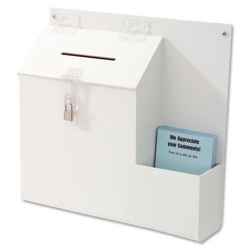 Deflect-o Suggestion Box With Lock - 13.0 Height X 13.8 Width X 3.6 Depth External Dimensions - Plastic - White - Sharp Disposable