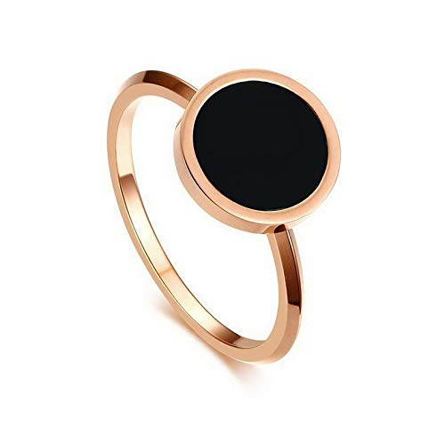 Wausa Rose Gold Round Enamel Wedding Band Womens Stainless Steel Wedding Ring Sz 5-8 | Model RNG - 23711 | 5