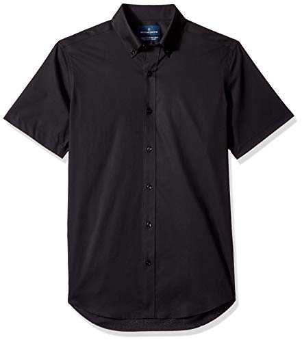 BUTTONED DOWN Men's Tailored Fit Stretch Button-Collar Short-Sleeve Non-Iron Shirt, Black, 16
