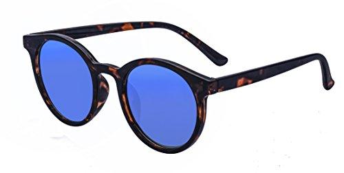 Tortoise Horn - Kelens Vintage Retro Horn Rimmed Round Circle Sunglasses UV400 Protection Tortoise Blue ¡