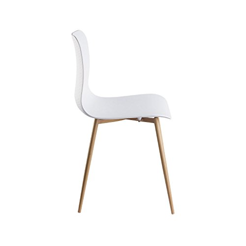 Viola Set of 4 White Dining Chairs - Mid Century Modern Style Armless Side Chairs Molded Easy Clean Plastic Shell with Wood Tone Legs by Linea di Liara LL-CH1658-WHITE by Linea di Liara (Image #3)