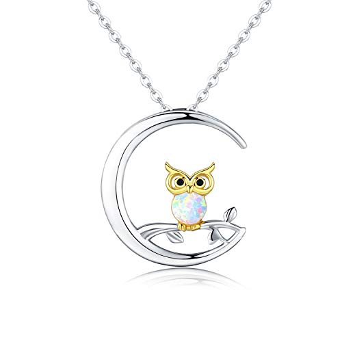 (JUSTKIDSTOY 925 Sterling Silver Opal Owl Necklace,Owl on The Branch Cresent Moon Pendant Necklace Jewelry Gifts for Women Owl Lovers,18