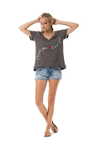 Stripe Raw Edge - VIVILISH WOMEN THANK & LOVE YOU RAW EDGE PIN-STRIPE V-NECK TEE -DESIGNED IN LOS ANGELES