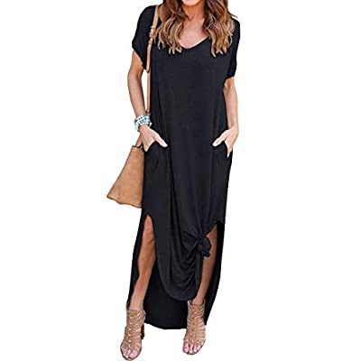 GRECERELLE Women's Casual Loose Pocket Long Dress Short Sleeve Split Maxi Dresses at Women's Clothing store