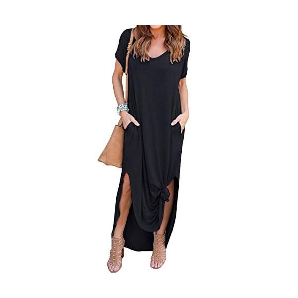 Women's Casual Loose Pocket Long Dress Short Sleeve Split Maxi Dresses