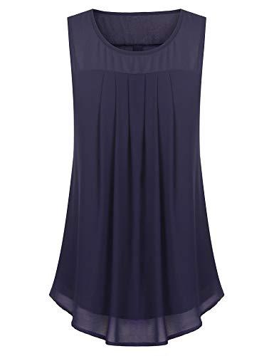 SUNAELIA Women Simple Plain Fall Basic Ruched Blouse Chiffon Tunic Swing Party Top Tunic, Navy Blue, XL