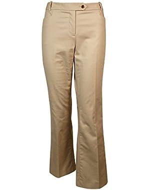 Womens Plus Modern Fit Khaki Dress Pants