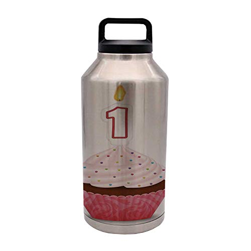 1st Birthday Decorations Durable 64OZ Stainless Steel Bottle,Kitchen Cuisine Inspired Pastry Cupcake Party with Candle for Home Travel Office,4