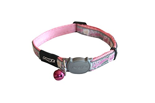 Rogz Reflective Cat Collar with Breakaway Clip and Removable Bell, fully adjustable to fit most breeds, Pink Butterfly Design