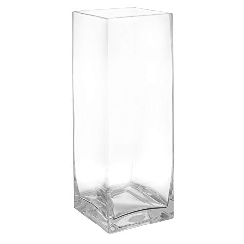 Royal Imports Flower Glass Vase Decorative Centerpiece for Home or Wedding Tall Rectangle Shape, 14