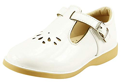 The Doll Maker Girl's T-Strap Mary Jane-TD183019F-8 Pure White -