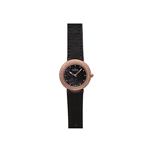 Charmex Las Vegas 6297 35mm Stainless Steel Case Black Calfskin Synthetic Sapphire Women's Watch