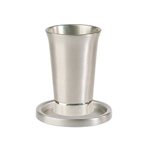 Kiddush Cup and Saucer / Anodized Silver
