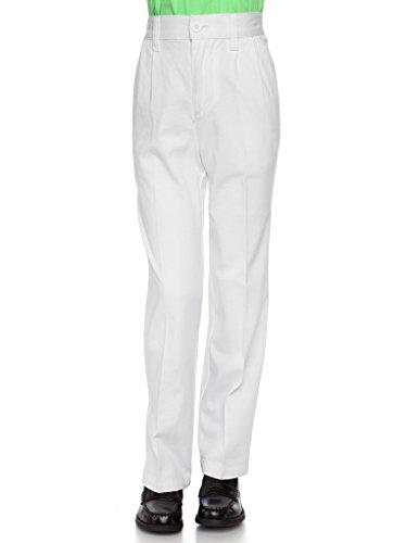 AKA Boys Pleat-Front Traditonal Fit Back Elastic Cotton Twill Pants White 5