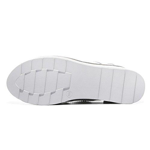 Scarpe Da Donna Zeppa Piattaforma Punta Rotonda Antiscivolo Piatto Fondo Spesso Suole Scarpe Casual Bianco