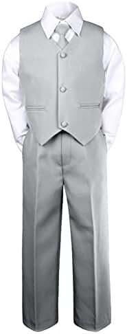 Leadertux 4pc Formal Baby Toddler Little Boys Silver Vest Necktie Sets Suits S-7 (XL:(18-24 months))