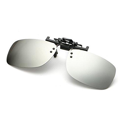 Raylans Polarized Adult Day Night Vision Flip-up Clip-on Lens Driving Glasses Sunglasses White - For White Men L Sunglasses