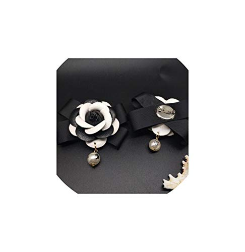 Women Genuine Leather Brooch Pearl Pendant Big White Camellia Flower Brooch Pin,Black White from Comfort-Place Brooch