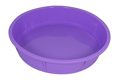Bakerpan Premium Silicone Round Cake Pan, Round Mold, 10 Inches (Purple, 1)