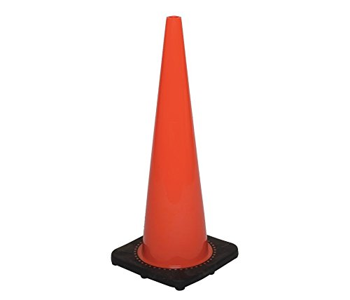 (12 Cones) CJ Safety 36'' Height Orange PVC Traffic Safety Cones With Black Base - No Reflective Collars (Set of 12) by CJ Safety