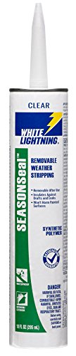 White Lightning W41501010 SeasonSeal Removable Weather Stripping, Clear, 10 ()