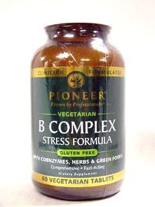 Pioneer B Complex Stress Formula | High Potency B Vitamins | Whole Food Based | Verified Gluten Free | 60 Vegetarian Tablets