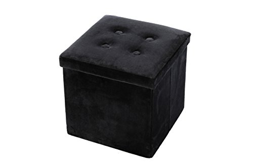 Velvet, Folding, Wooden, Storage, Cube, Ottoman / Foot Rest 15 Inches, Black