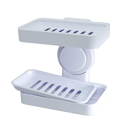 JIURU Powerful Suction Cup Soap Dish Holder for Shower, Double Layer Draining Soap Dish for Bathroom, Wall Mounted Soap Holder for Kitchen, Soap Box with Draining Tray, White ABS Plastic, Reuseable