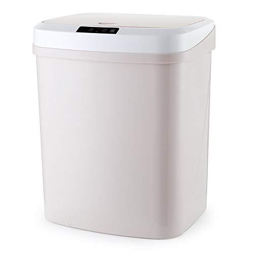 JenLn Container met recycling 15L capaciteit automatische inductie oplaadbare afvalemmer voor woonkamer keuken roestvrij…