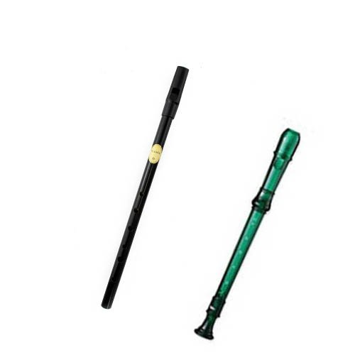 My First Recorder / Penny Whistle Pack -BPA FREE Green Translucent Recorder w/Black Tin Penny Whistle by My 1st Recorder
