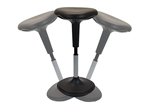 New Wobble Stool Adjustable Height Active Sitting Balance Perching Chair for Office Standing Desk Best Tall Swivel Ergonomic Stability Sit Stand Up Perch Stool (Black (Triangular, Vinyl)