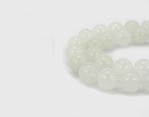 jennysun2010 Natural White Jade Gemstone 6mm Smooth Round Loose 60pcs Beads 1 Strand for Bracelet Necklace Earrings Jewelry Making Crafts Design Healing (Jade Beads 6mm)