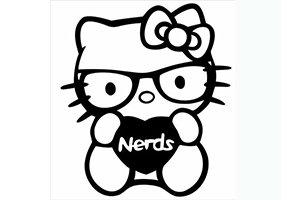 Black Hello Kitty Nerd Decal