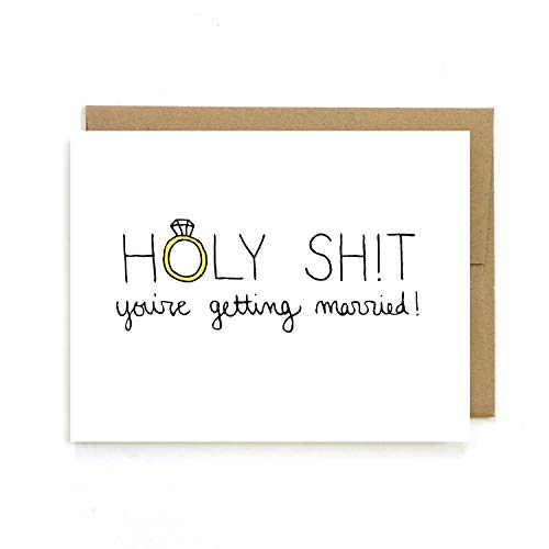 You're Getting Married, Funny Engagement Wedding Card for Couple, Blank Inside, by Julie Ann Art