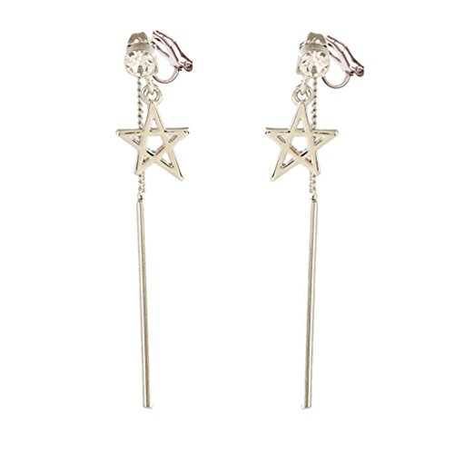 Clip on Earring Back with Pads Pentagram Dangle Clip Zirconia Fashion Jewelry for Girl Kid no Piercing