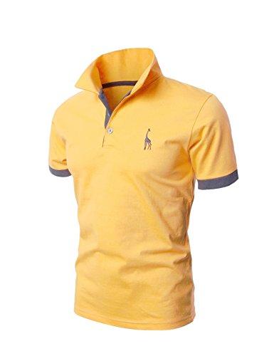 Letuwj(レツダブリュジェ) メンズ 半袖 切替 折り襟 ゴルフウェア ポロシャツ