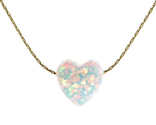 White Opal Heart Necklace Charm 14k Gold Filled cable-wire,Length 16+2 inches extender ()