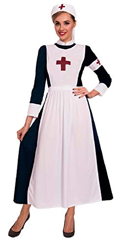 Ladies Vintage War Time WW1 Victorian Historical Nurse Florence Nightingale Fancy Dress Costume Outfit UK 8-18 (UK ()