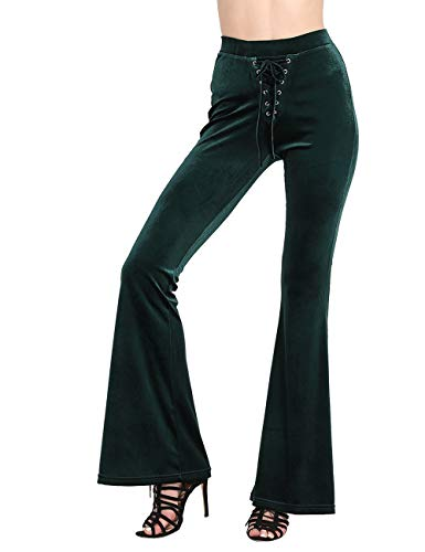 NORMOV Lace Up Velvet Bell Bottoms-High Waisted Flared Pants for Women Solid Color Flares